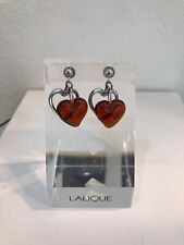 LALIQUE Heart Red Sterling Silver Crystal Pierced EARRINGS