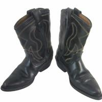 Cowboy Boots Kids Vintage Black Leather Size 8-1/2 D Halloween Western Costume