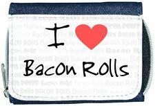 I Love Heart Bacon Rolls Denim Wallet