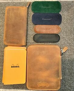 Galen Leather Pen Case for 14 Kaweco Pens & 4 Kaweco Leather cases & 9 Rhodia A7