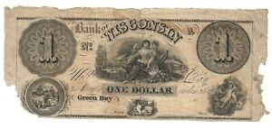 $1.00 Note Green Bay Bank of Wisconsin Will Pay The Bearer One Dollar
