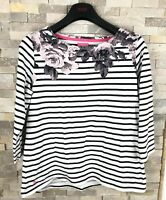 Joules Ladies Size 14 Floral Striped Long Sleeve Top