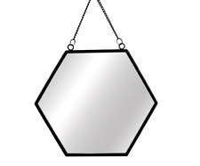 Sass & Belle Black Monochrome Hexagon Mirror Chain Link Wall Hanging Metal Frame