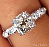 GIA 1.43CT ANTIQUE VINTAGE DECO OLD MINE CUSHION DIAMOND ENGAGEMENT WEDDING RING