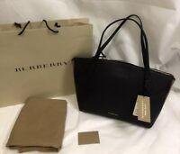 3992b61b32 NWT Burberry Welburn Medium Leather And House Check Tote Shoulder Bag ,  Black