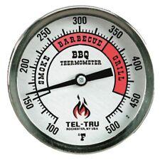 "Smoker Thermometer Plain Dial 3"" Dial Long 2.5"" w/Installation Kit Tel-Tru BQ300"