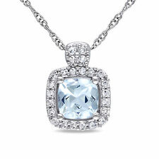 10k White Gold 1/10 CT Diamond & 1/2 CT Aquamarine Fashion Pendant Necklace 17""