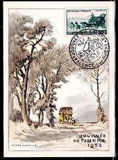 FRANCE FDC - 1952 7 JOURNEE DU TIMBRE - VALENCE SUR RHONE - sur CARTE POSTALE