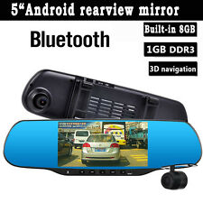 "Rearview mirror Car DVR WiFi FM FHD 1080P 5.0"" Android GPS Bluetooth Dash Cam 3D"