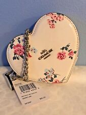 Coach HEART Coin Case Bag Wristlet with Cross Stitch Foral Print ~ F24430