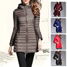 Women's Long Duck Down Zipper Hooded Jacket Coat Warm Winter Puffer Tops Quilted