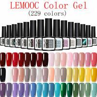 LEMOOC 229 Colors Gel Nail Polish Set Top Base Coat UV LED Soak Off Nail Art 8ml