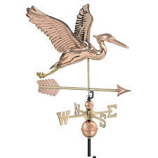 Copper Blue Heron Weather Vane Roof Top Mount Shed Gazebo Cottage Bird Sculpture