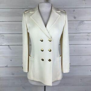 St John Cream Nautical Knit Double Breasted Sweater Jacket Women's Size 4