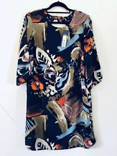 M&S Collection Navy Blue Large Floral Print Tunic Dress Flute Sleeve Sz 14 2325