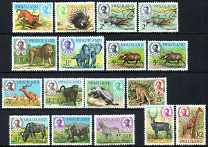 Swaziland 1969 QEII Wildlife complete set of mint stamps to R2 Lightly Hinged