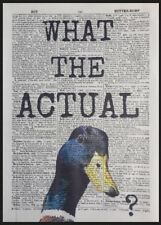Duck Quote Vintage Dictionary Page Print Wall Art Picture Animal Pun Funny Bird
