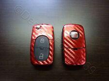Carbon cromo rojo decoración clave lámina Seat Leon Golf Passat VW Bora polo Skoda