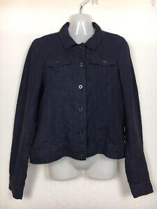 Sussan 12 top jacket 100% linen navy blue button front travel casual work medium