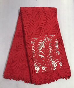 "Red Cutout Corded Bridal Lace Fabric 48"" Width Sold By The Yard"