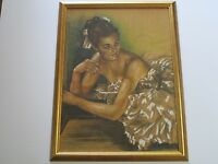 FERNANDO MOLINA PAINTING DRAWING LARGE ANTIQUE PRETTY FEMALE MODEL DECO LISTED
