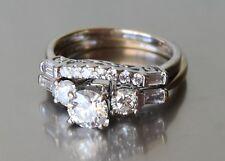 1.57 ctw Diamond 18k Solid White Gold Bridal Set w New Appraisal $6700