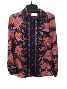Anthropologie Maeve 0 Silk Floral Print Collard Long Sleeve Blouse Button Down
