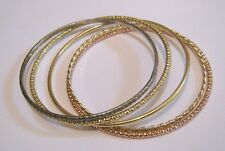 5x lovely gold tone metal various bangle style bracelets approx 2½ ins wide