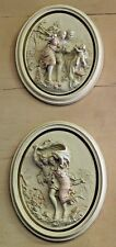 Pair of Italian Neoclassic Ceramic Oval Romantic Figurative Plaques
