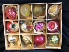 Antique Glass Christmas Ornaments, Box Of 12