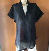 Ladies Silk Blend Semi-Sheer Top Black size Large New with Tags A New Day Target