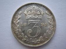 1893 Veiled Head silver Threepence EF #1