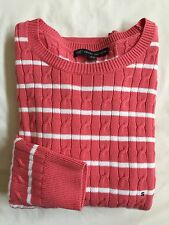 NWT Women's Brooks Brothers 346 Cableknit Sweater Pink White XLarge Retail 79.50