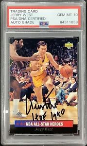 Jerry West Signed 1993 Upper Deck #10 Card Lakers HOF 1980 Insc PSA/DNA Auto 10