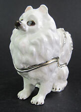 Pomeranian - White Jewelled Dog Trinket Box or Figurine