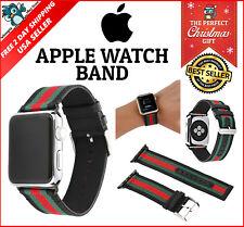 Red Green Black Apple Watch Band Strap Replacement Wrist Brace Gucci Pattern