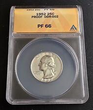 1952 25C DDR-002 Washington PROOF Silver Quarter ANACS PF 66