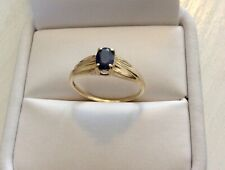 Lovely Ladies Stamped Vintage 10K Gold Pretty Sapphire Solitaire Ring - N 1/2
