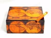 OLD WORLD Map Veneer is Elegant, Unique & Gorgeous 40 Cigar Humidor - SHIPS FREE