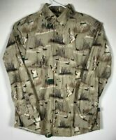 Men's Long Sleeve Flannel Shirt, Cabela's, Size M, Duck Hunting Graphic