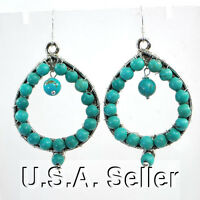 Blue Magnesite Turquoise Round Beads Wrapped Sterling Silver Earring(ER258)a