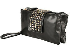 Fashionable Black Metal Stud Paved Handbag with Innovative Dual Pockets