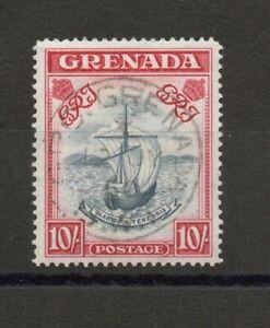 GRENADA SG 163f WIDE PRINTING VARIETY GVI 10/- 1950 CANCEL FINE USED