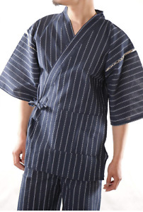 Japanese JINBEI Men's Summer Kimono wear Topps Half Pants JAPAN Navy Size:XL