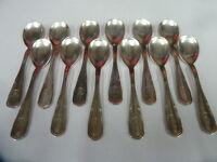 12 CUILLERES A GLACE ART DECO en métal argenté - état brillant- 1029