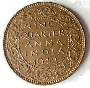 1942 BRITISH INDIA 1/4 ANNA - AU - Rare Vintage Coin - Lot #S25