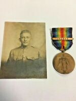 ORIGINAL WWI US VICTORY MEDAL WITH FRANCE CLASP & US ID SOLDIER PHOTO