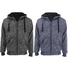 Mens Athletic Warm Ultra Soft Sherpa Lined Fleece Zip Up Sweater Jacket Hoodie