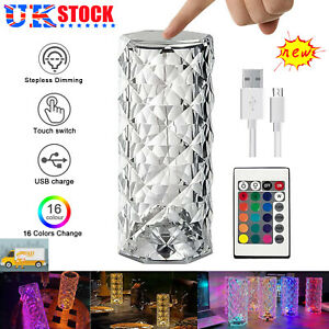 RGB LED Crystal Table Lamp Diamond Rose Night Light Touch Atmosphere Bedside Bar