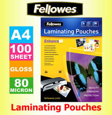 100 x Fellowes A4 Laminating Pouches/ Sheets/ Sleeves 80 microns Gloss